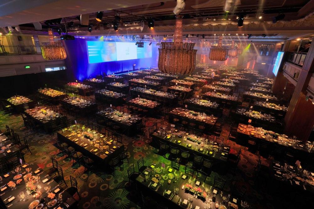 Grosvenor ballroom production photo lighting and video screen tables