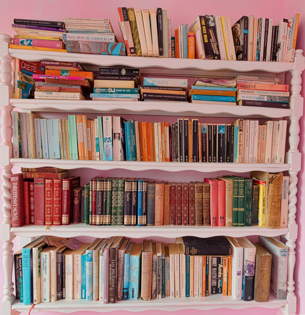 Classic books on a bookshelf in a pink room