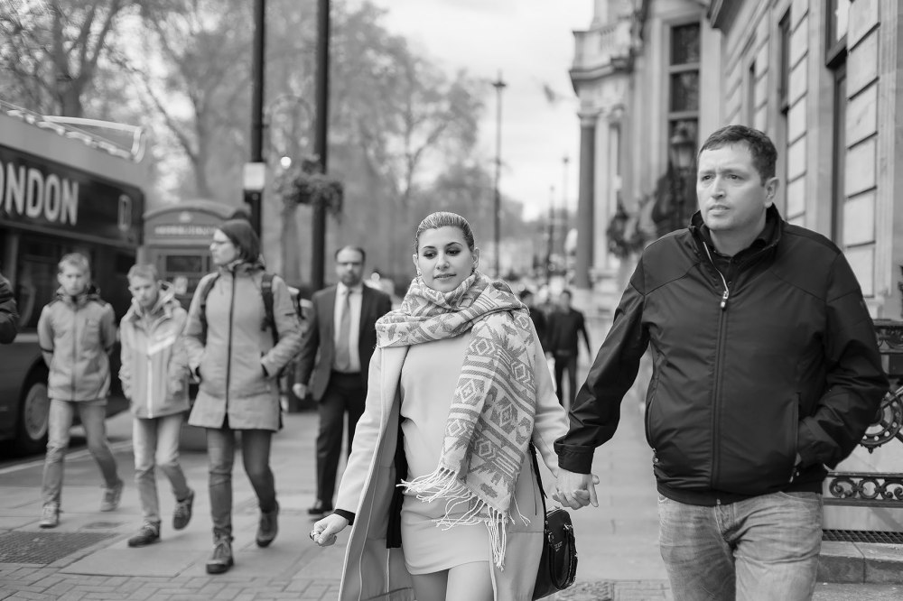 Black and white candid photo of couple in London