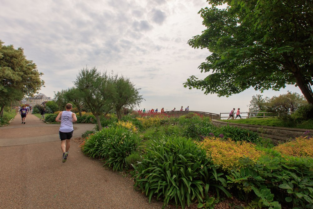 joggers running in a coastal park
