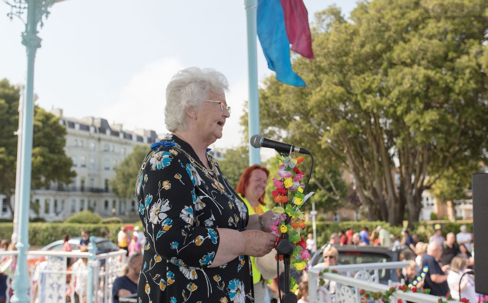 Councillor Mrs Ann Berry addressing her constituents.