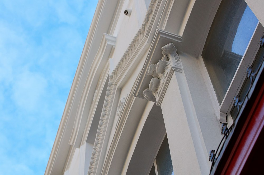 intricate detail of classical architecture in a building restoration project
